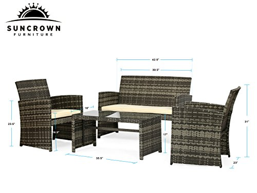 Suncrown Outdoor Furniture Grey Wicker Conversation Set with Glass Top Table (4-Piece Set) All-Weather | Thick, Durable Cushions with Washable Covers | Porch, Backyard, Pool or Garden by Suncrown (Image #4)