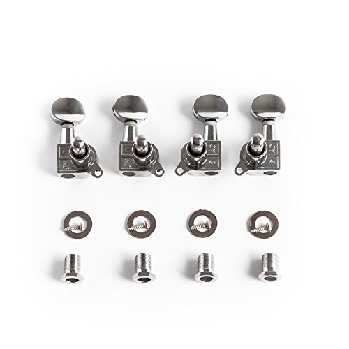 Geared Tuners (Makanu Ukulele Tuning Pegs 2R2L Chrome Slivery Tuner Guitar Geared 4pcs)