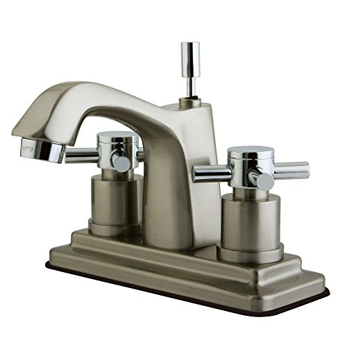 Kingston Brass KS8647DX Concord Twin Cross Handles 4-Inch Lavatory Faucet, Chrome/Brushed Nickel