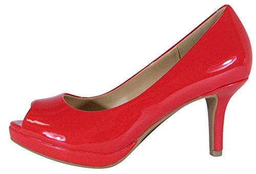 en's Peep Toe Comfort Padded Insole Mid Heel Dress Pump,7.5 B(M) US,Red Patent PU (Red Patent Pumps)