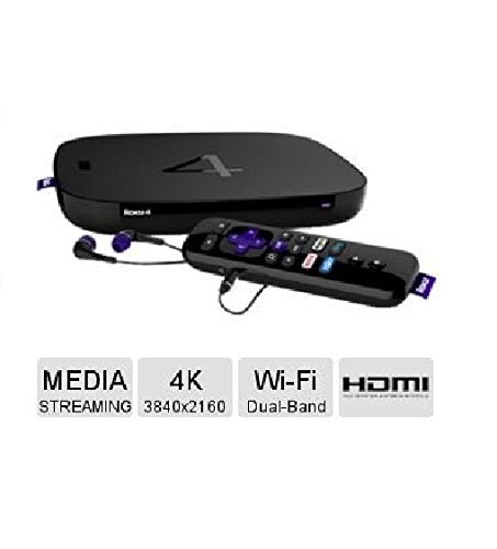 ROKU 4 Wi-Fi Ultra HD 4K Streaming Media Player with Earb...