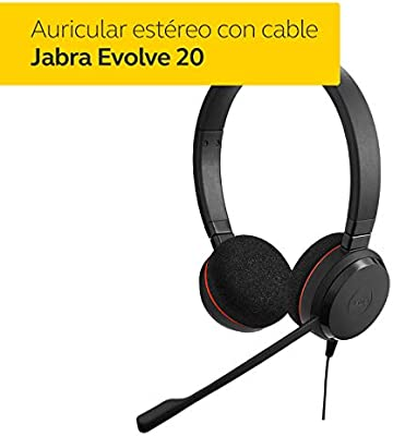 Jabra Evolve 20  cascos est/éreo y mono para oficina inal/ámbricos con Bluetooth/® negro