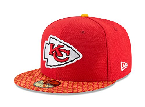 New Era 59Fifty Hat Kansas City Chiefs NFL 2017 On Field Official Sideline Fitted Cap (7 1/4)