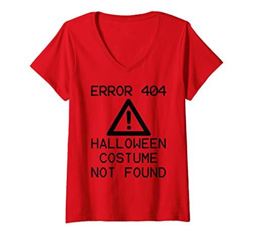 Womens HALLOWEEN COSTUME NOT FOUND Halloween Computer ERROR 404 V-Neck T-Shirt