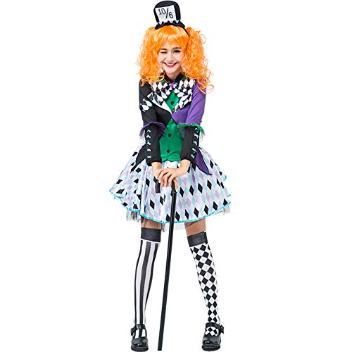 Honfill Crazy Girl Costume Novelty Dress with Oversleeves Numbered Hat