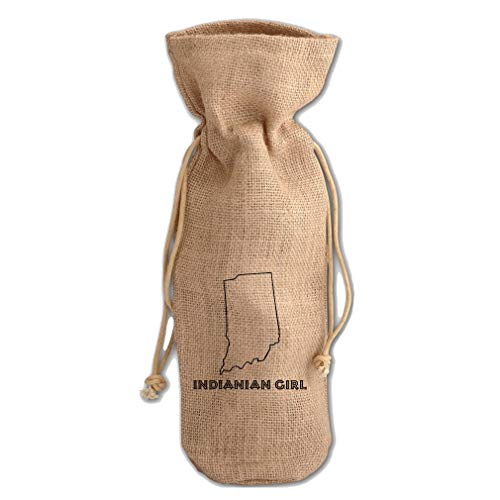 Indianian Girl Indiana Jute Burlap Wine Drawstring Bag Wine Sack