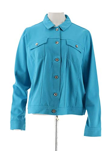 Clinton Kelly Kelly Ponte Knit Jacket Gingham Accents Turquoise L New A288287