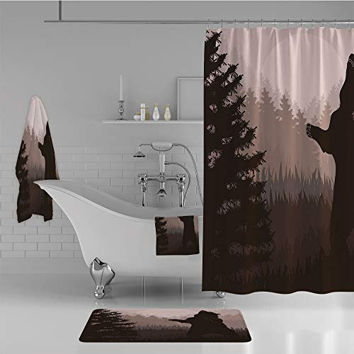 Bathroom 4 Piece Set Shower Curtain Floor mat Bath Towel 3D Print,Bear in Jungle Woodland at Dark Night Animal,Fashion Personality Customization adds Color to Your Bathroom. by iPrint