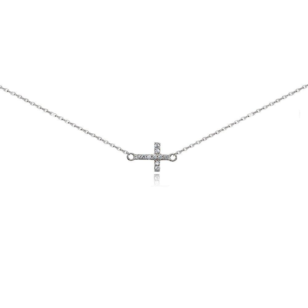 Sterling Silver Cubic Zirconia Sideways Cross Choker Necklace