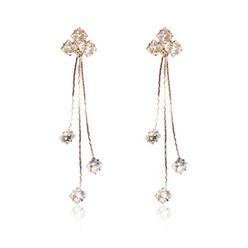 Cz Dangle Earrings - Ginasy Cubic Zirconia Long Linear Dangle&Drop Earrings with 925 Sterling Silver Post for Women Girls (Linear Gold 3.14
