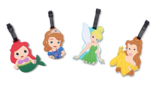 (Finex Set of 4 - Tinker Bell Sofia The First Belle Ariel The Little Mermaid Princess Travel Silicone Luggage Tags Bag Tag Adjustable Strap)