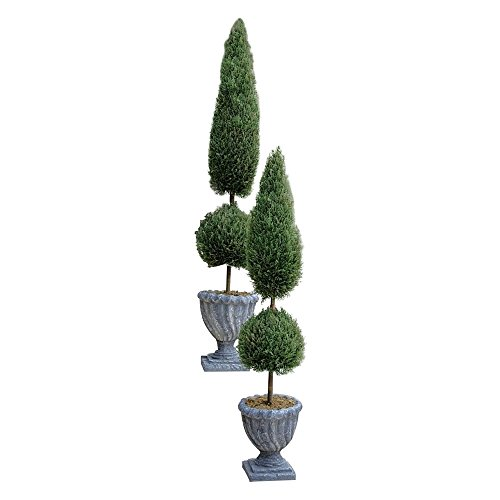 MD Group Artificial Tree Classic Topiary Resin Faux Foliage Small Size w/ Stone Finished Urn by MD Group