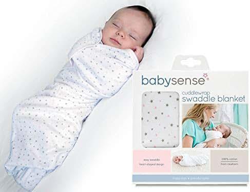 Baby Sense Cuddlewrap Swaddle Blanket/Award-Winning Baby Wrap | Stretchy & Safe 100% Premium Cotton + Breathable Fabrics for Sleep, Body Temperature, Feeding, Calming (Pink)
