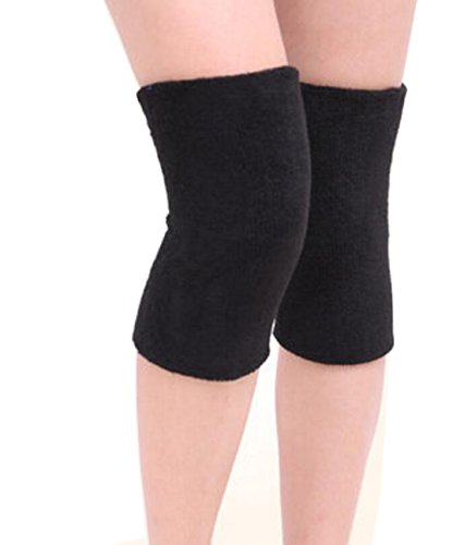 (ericotry 1Pair Supper Elastic Towel Knee Pads Dance Protection Cover Elderly Leggings Support Sports Fitness Unisex Winter Warm Thermal Knee Sleeves For Joint Pain Arthritis Relief Lady Men (Black))