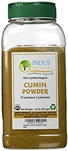 Indus Organics Cumin Seeds Powder, 1 Lb Jar, Premium Grade, High Purity, Freshly Packed
