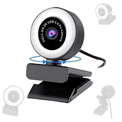 USB 2.0 Webcam, High-Definition IP Camera with LED Ring Fill Light, Computer Camera with Microphone Autofocus 【1080P-HD】