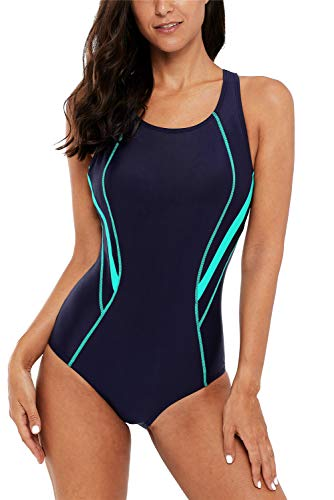 ALove Colorblock One Piece Swimsuits for Women Competitive Swimming Suits Navy Large