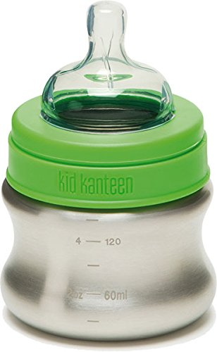 (Klean Kid Kanteen Stainless Steel Baby Bottle with Slow Flow Silicone Nipple, Silver, 5-Ounce)