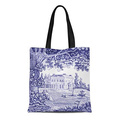 Semtomn Cotton Line Canvas Tote Bag Frcthmdc French Country Blue Toile Garden Reusable Handbag Shoulder Grocery Shopping Bags