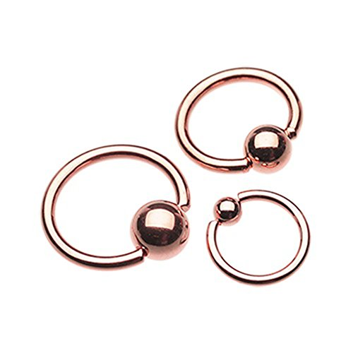 Gold Plated Captive Bead Ring (Rose Gold Plated Basic Captive Bead Ring (Sold Individually) (18G, 3/8