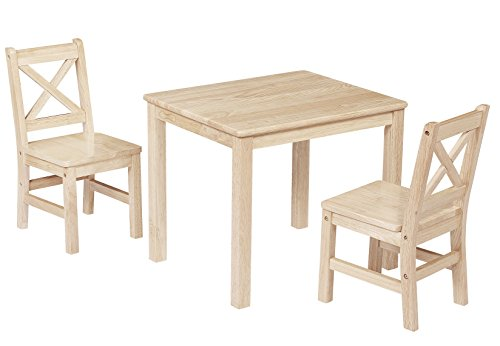 eHemco Kids Table and 2 Chairs Set Solid Hard Wood -- Unfinished (Solid Wood Kids Furniture)
