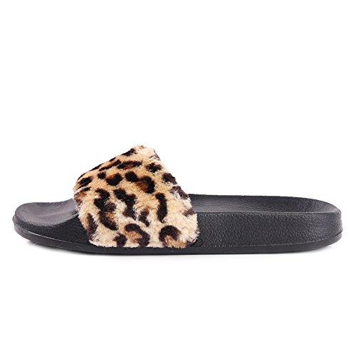 Equick Kvinna Flip Flop Fuskpäls Mjuk Slide Platt Toffel Gräns Leopard