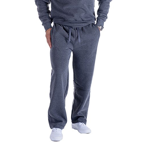 (Eurogarment Mens Active Fleece Athletic Sweatpant Basic Running Drawstring Joggers Workout Sweat Pants, Dark Grey, Large)