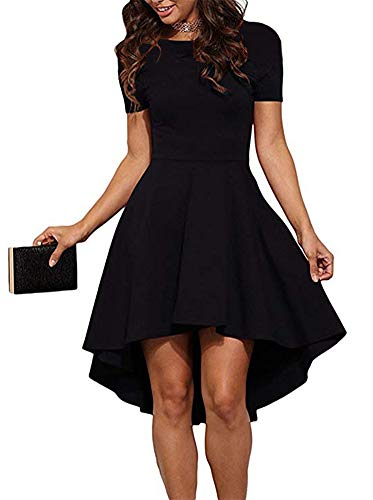 ReoRia Women Womens Scoop Neck Short Sleeve High Low Cocktail Party Skater Dress Black Small