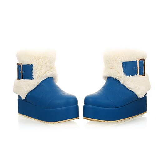 AmoonyFashion Womens Closed Round Toe Kitten Heels PU Short Plush Solid Boots with Buckle and Platform Blue R5JH9X