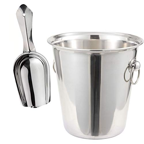 Tiger Chef 4 Quart Wine Bucket Set Stainless Steel 4 Qt Wine Bucket And 6 Oz Scoop Set