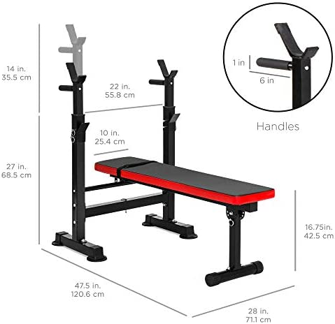 Best Choice Products Adjustable Folding Fitness Barbell Rack & Weight Bench Set for Home Gym, Strength Training w/Incline & Decline Capability, Padded Faux Leather, Easy Storage - Black/Red 6
