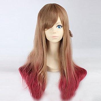 OOFAY JF® dibujos animados color de moda peluca largo rizado pelucas del color del pelo