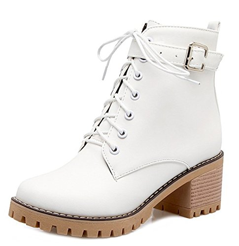Buckled Martens Lace Aisun Heels Trendy Mid Women's Chunky Short Boots White Up OWnTB8AFW