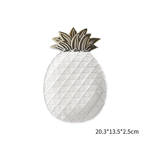 Cozymomo Decorative Gold Pineapple Leaf Ceramic Charger Plate Dish Porcelain Candy Trinket Dish Jewelry Storage Plate Crockery Tableware (White Pineapple)