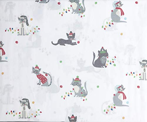 Jingles & Joy Bedding 4 Piece Queen Size Bed Microfiber Sheet Set Extra Deep Pockets Winter Christmas Holiday Cats Scarves Hats Festive Colors on White