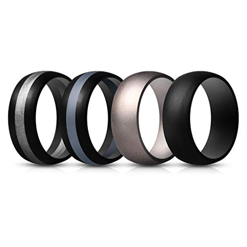 ThunderFit Mens Silicone Rings Wedding Bands – 4 Pack (Dark Silver, Black Middle Silver, Black Middle Grey, Black, 9.5-10 (19.8mm))