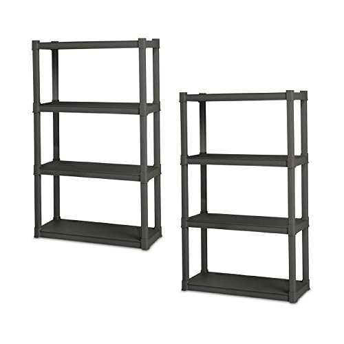 Sterilite 4 Shelf Unit, Flat Gray – Pack of 2