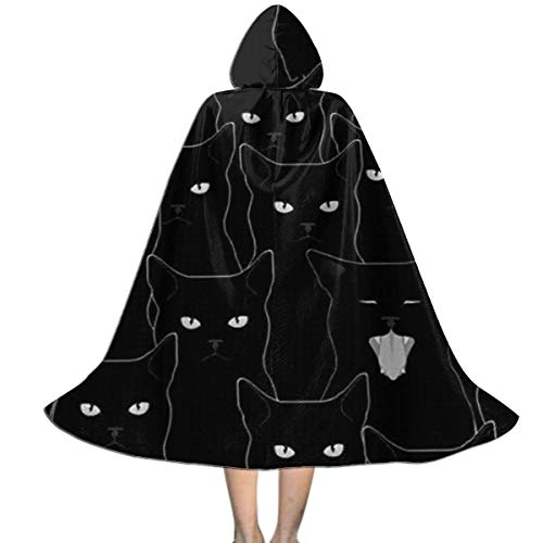 Kid's Medieval Hooded Cloak Cape Black Cats