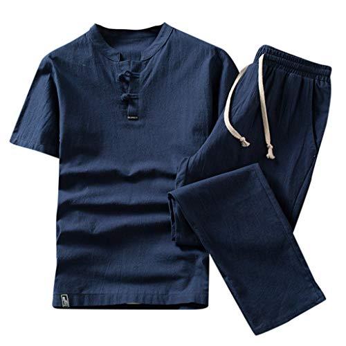 Kaister Men's t Shirt Jumpsuit Summer New Cotton and Hemp Short Sleeve Long Pants Fashion Comfortable Suit Jumpsuits (Penguin Belted Belt)