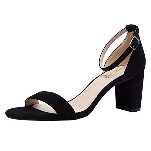 5908132a5b6 Women s Chunky Low Heel Sandals Ankel Strap Block Dress Sandals BK6 ...