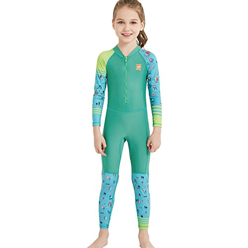 Dark Lightning Girls Full Body Suits, Kids UV Protective Swimwear, One Piece Long Sleeve Lycra Rash Guard Technical Swimsuits for Child, Green, L Size