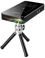 Mini rzutnik, touchpad, korekcja keystone, przenośny mini projektor wideo, z systemem Android 7.1, bateria 5000 Ah, bezprzewodowy projektor podróżny ze statywem i pilotem zdalnego sterowania