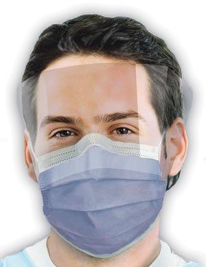Crosstex GCIPWB Latex-Free Isofluid FogFree Earloop Mask with Shield, Blue (Pack of 25) by Crosstex