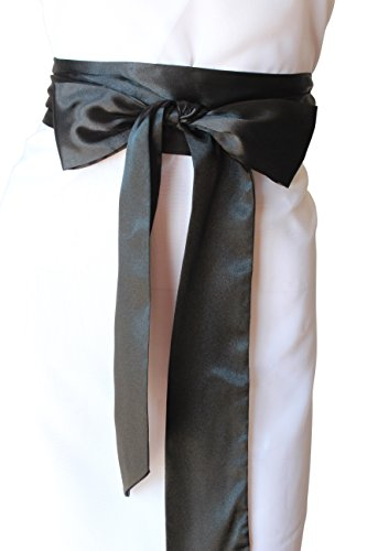 Satin Black Belt (SASH Bridal Satin Sash Black)