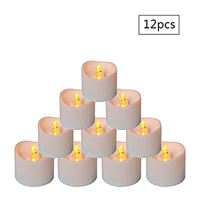 Micandle 12PCS Battery Tea Lights With Timer, 6 Hours on and 18 Hours Off in 24 Hours Cycle Automatically,Amber Yellow FlickeringTiming LED Candle Lights