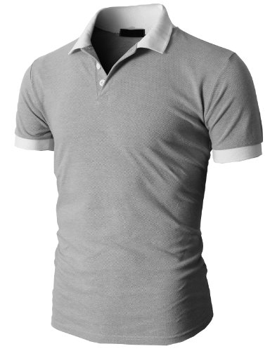 H2H Mens Pique Polo-shirts Three Buttons Closer with Two Tone Collar GRAY US XL/Asia XXL (KMTTS035)