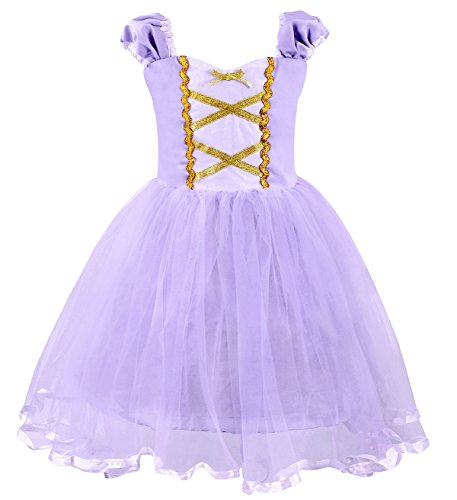 Cotrio Girls Princess Rapunzel Dress Up Costume Halloween Cosplay Fancy Party Dresses Size 2T (90, Rapunzel Tutu Dress) ()