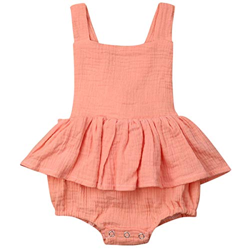 - Newborn Baby Girls Sleeveless Ruffled Romper Bodysuit Cotton Jumpsuit Romper Dress Baby Girl Dresses Outfit (Orange, 100(18-24M))