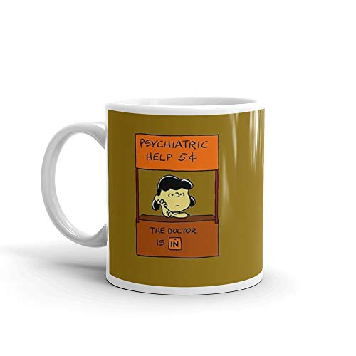 Peanuts Lucy Van - Lucy Van Pelt: The Doctor Is In. 11 Oz Fine Ceramic Mug With Flawless Glaze Finish. 11 Oz Classic Coffee Mugs, C-handle And Ceramic Construction