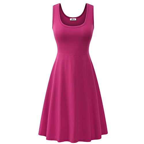 Herou Women Summer Beach Casual Flared Midi Tank Dress (X-Large, Rose) (Pink Sundress Dress)